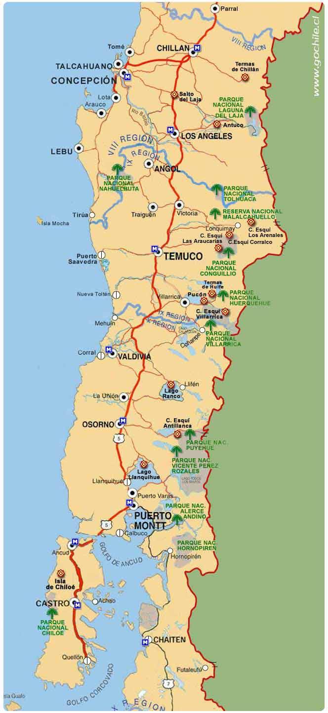 Mapa Sur De Chile.South